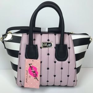 Betsey johnson pink heart quilt handbag
